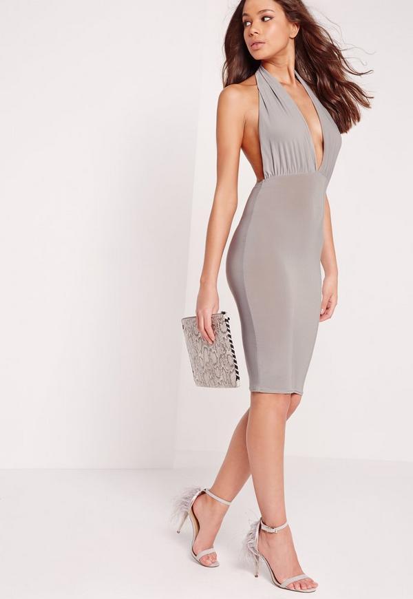 Slinky Halterneck Midi Dress Grey