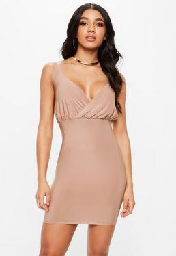 Slinky Strappy Plunge Bodycon Dress Pink