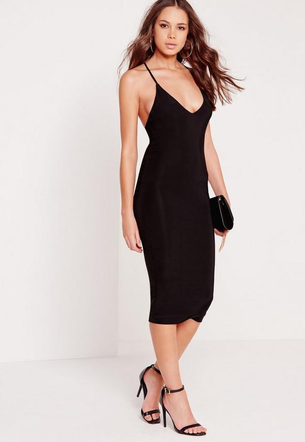 Slinky Cross Back Midi Dress Black