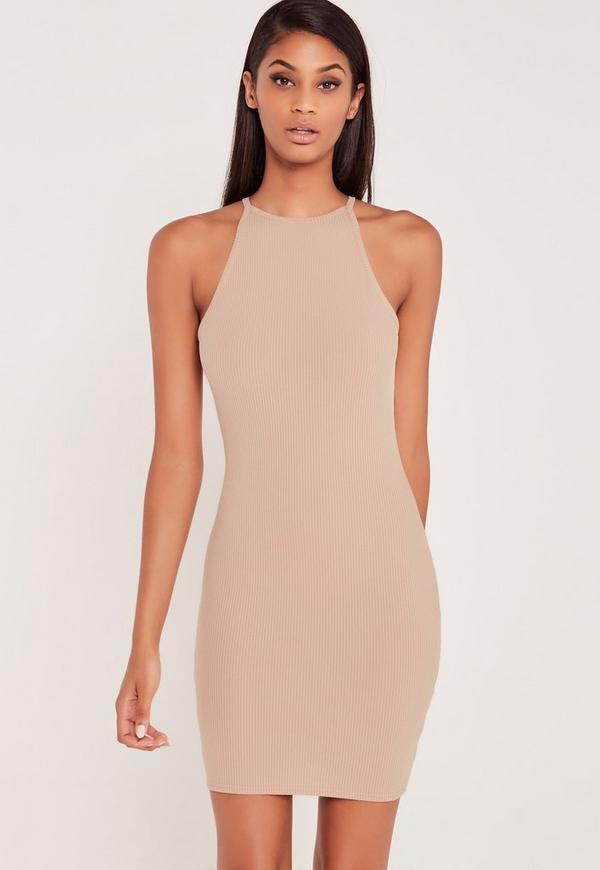 Carli Bybel Ribbed Square Neck Bodycon Dress Nude-16