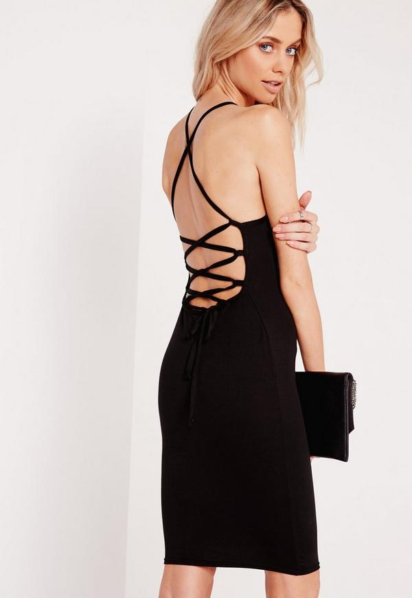 Lace Up Cross Back Bodycon Dress Black