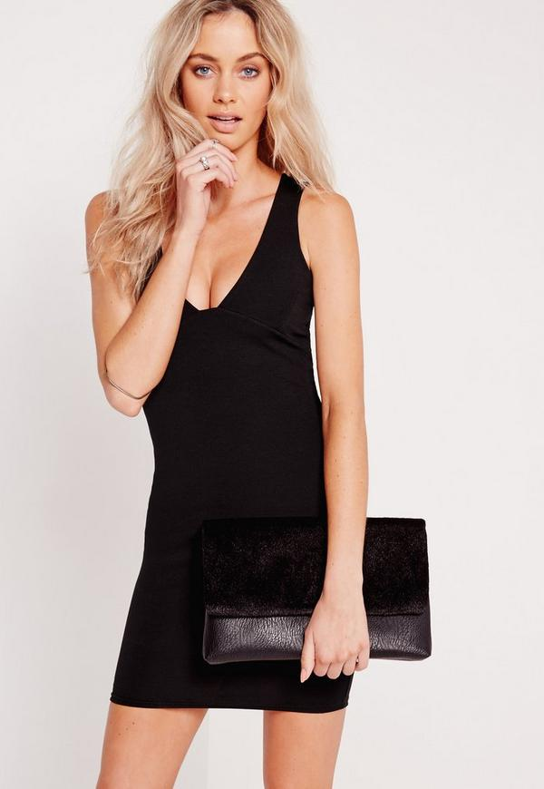 V Plunge Bodycon Dress Black