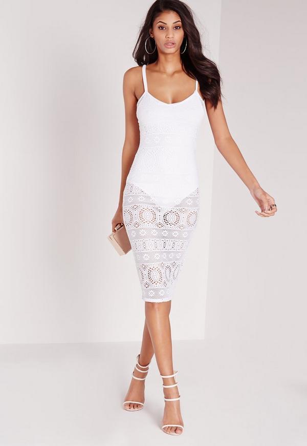 Sheer Lace Cami Midi Dress White