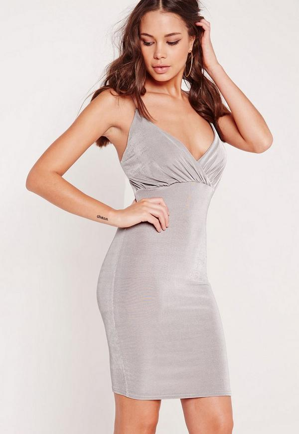 Slinky Strappy Bodycon Dress Grey