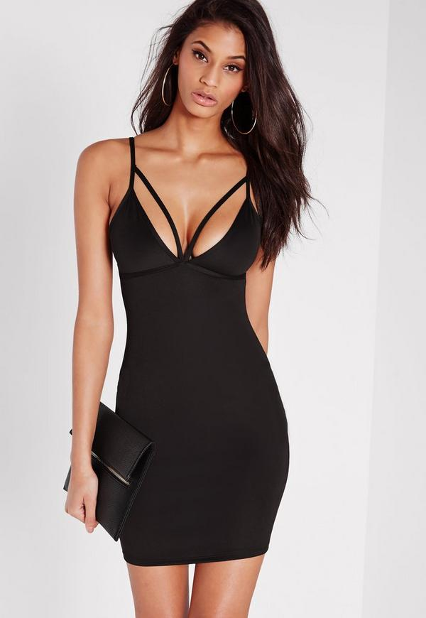 Strappy Scuba Bust Cup Bodycon Dress Black