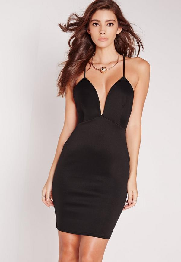 Scuba Strappy Bodycon Dress Black