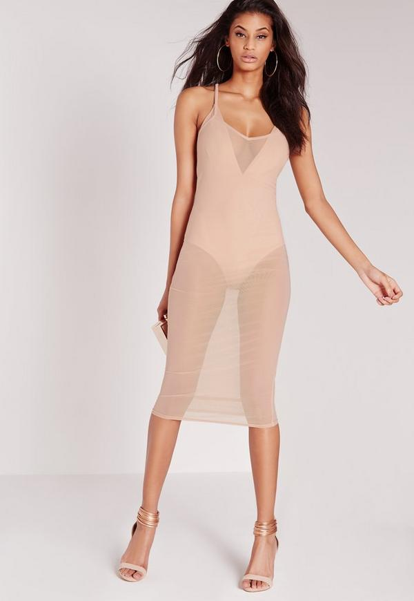 Mesh Strappy Midi Dress Nude