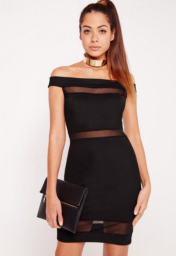 Mesh Insert Bardot Bodycon Dress Black