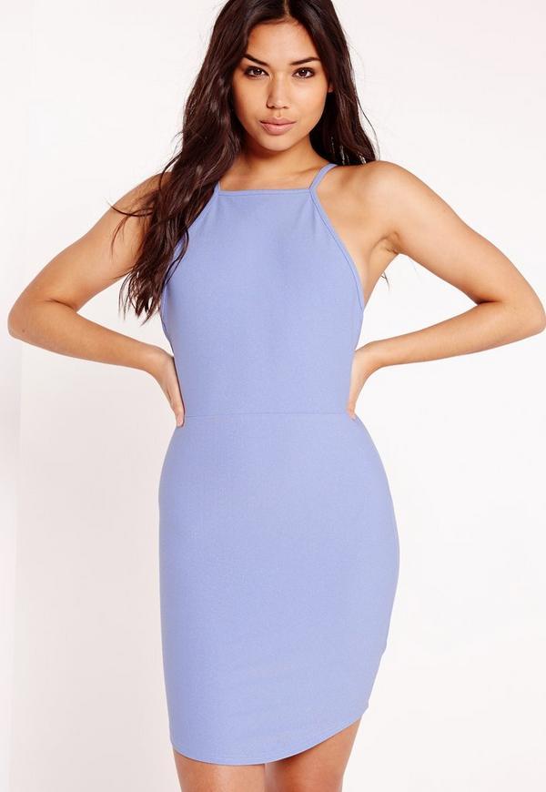 Curve Hem Square Neck Bodycon Dress Blue