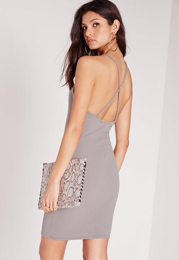 Textured Square Neck Bodycon Dress Grey