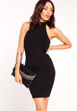 High Neck Halter Bodycon Dress Black