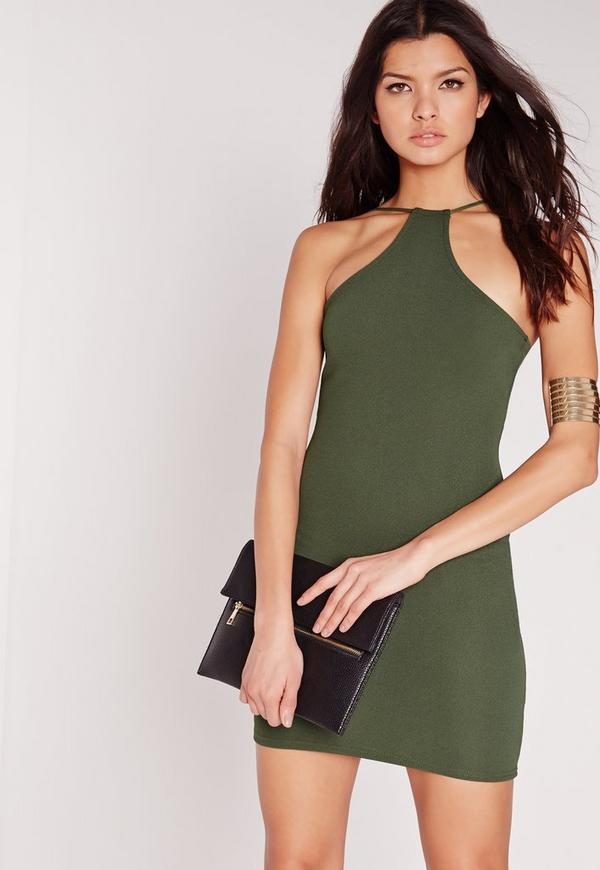 Racer Neck Bodycon Dress Khaki