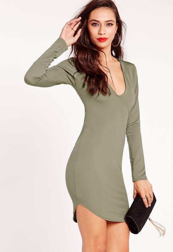Long Sleeve Plunge Bodycon Dress Khaki