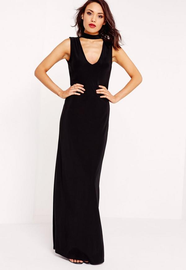 Slinky Choker Maxi Dress Black