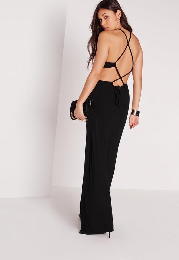 Gathered Neck Maxi Dress Black