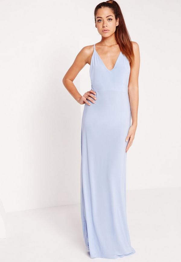 V Plunge Slinky Maxi Dress Blue