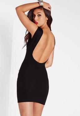 Black Ribbed Scoop Back Bodycon Dress