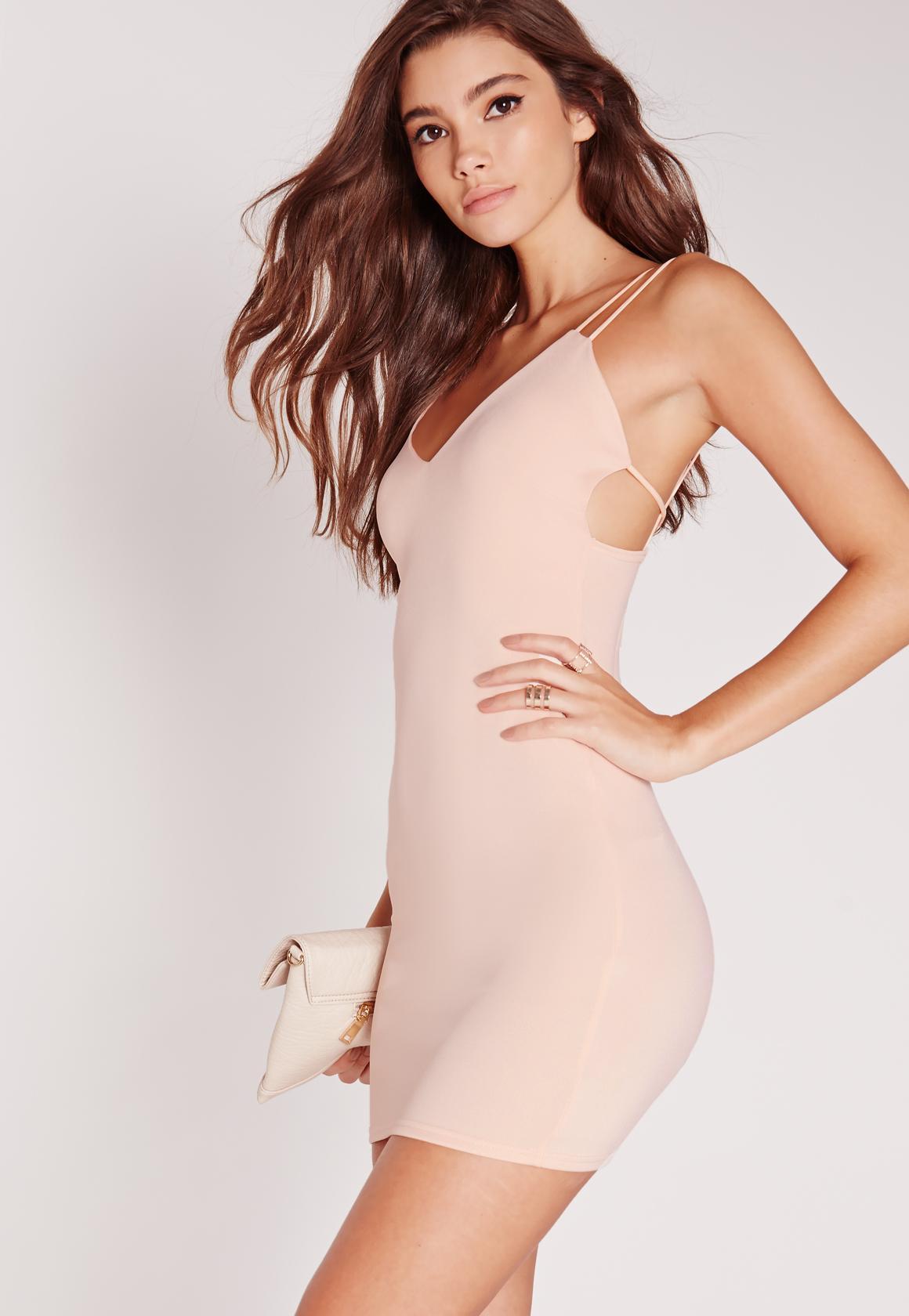 Strappy Scuba Bodycon Dress Nude