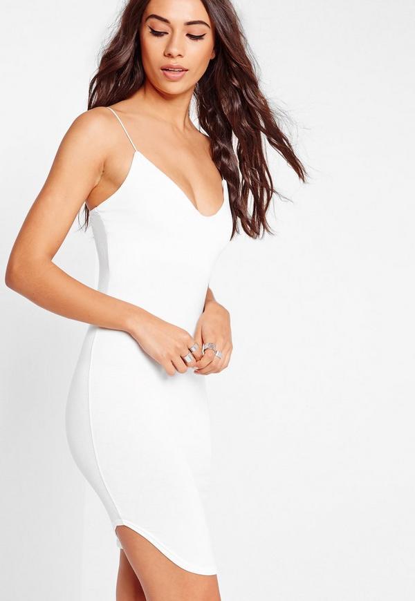 Strappy Curve Hem Midi Dress White