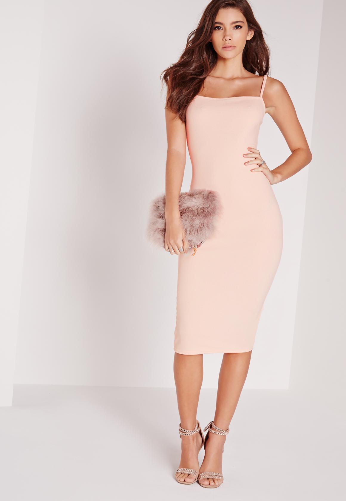 plunge front split midi dress pink sale