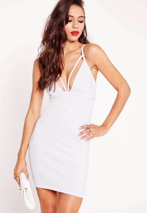 Strappy Scuba Bust Cup Bodycon Dress White