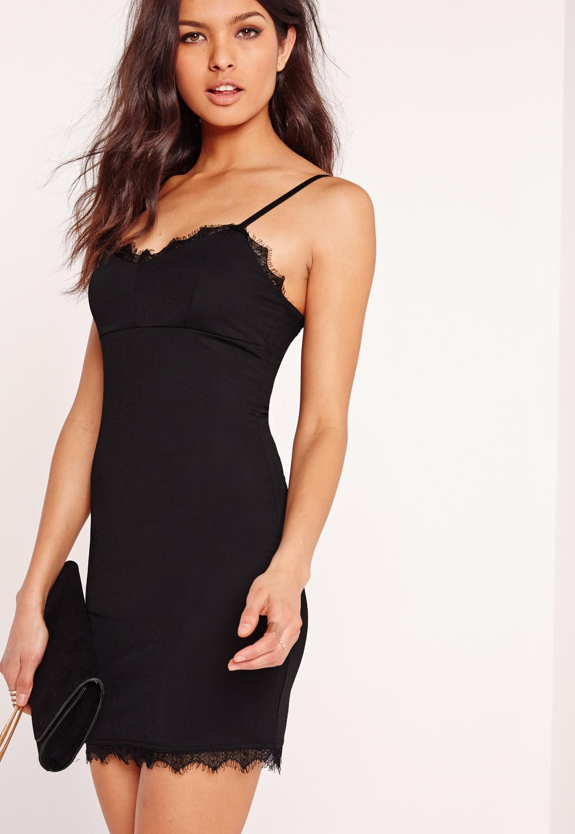 Lace Trim Strappy Bodycon Dress Black | Missguided