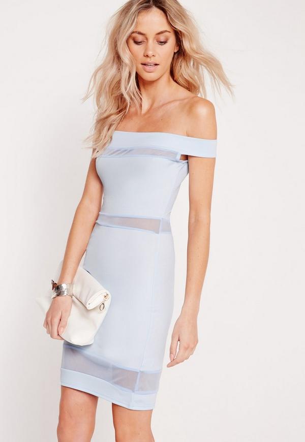 Mesh Bardot Bodycon Dress Blue