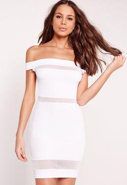 Mesh Insert Bardot Bodycon Dress White