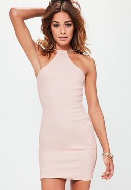 Racer Neck Bodycon Dress Nude