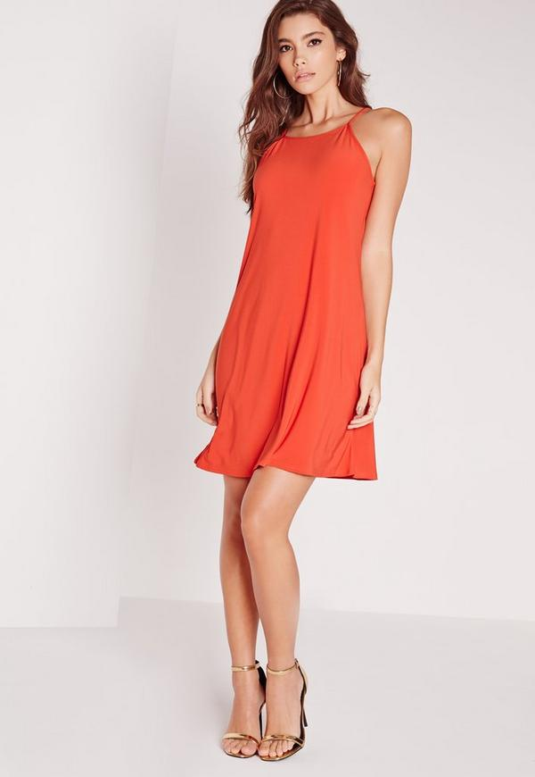 square neck slinky midi dress orange