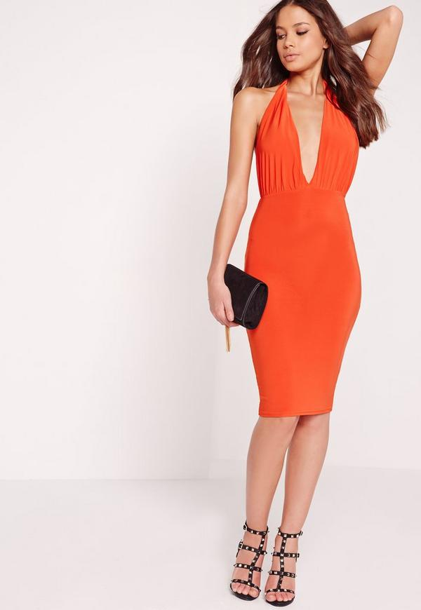 Slinky Halterneck Midi Dress Orange