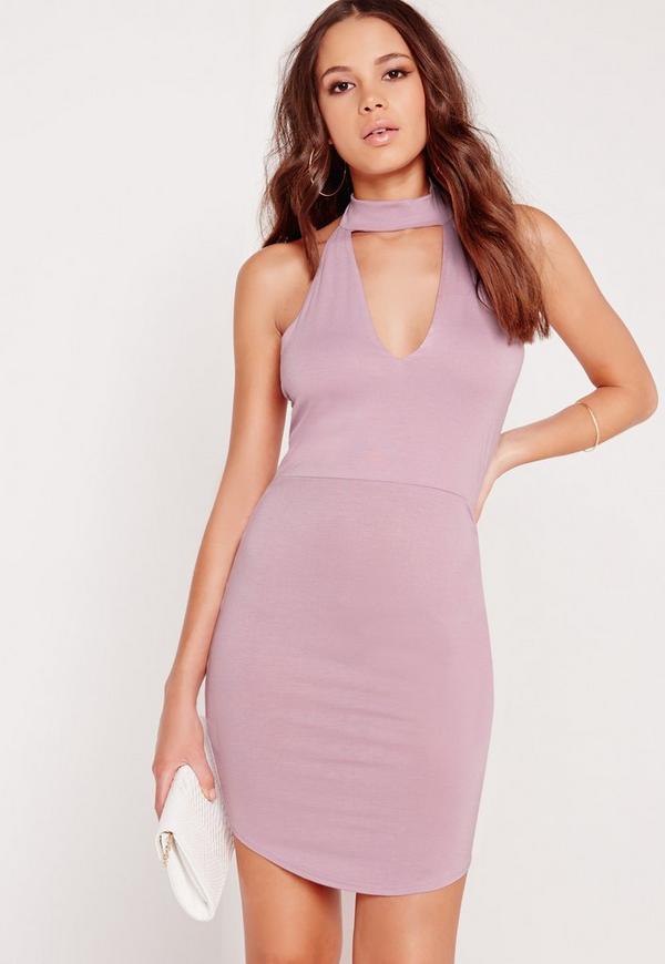 Choker Plunge Bodycon Dress Purple