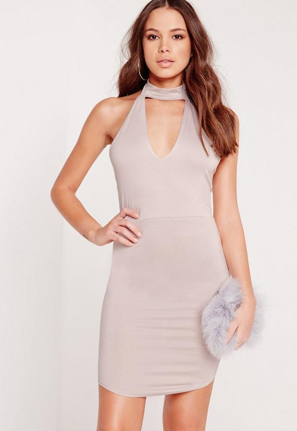 Choker Plunge Bodycon Dress Grey