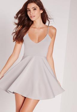 Strappy Skater Dress Grey