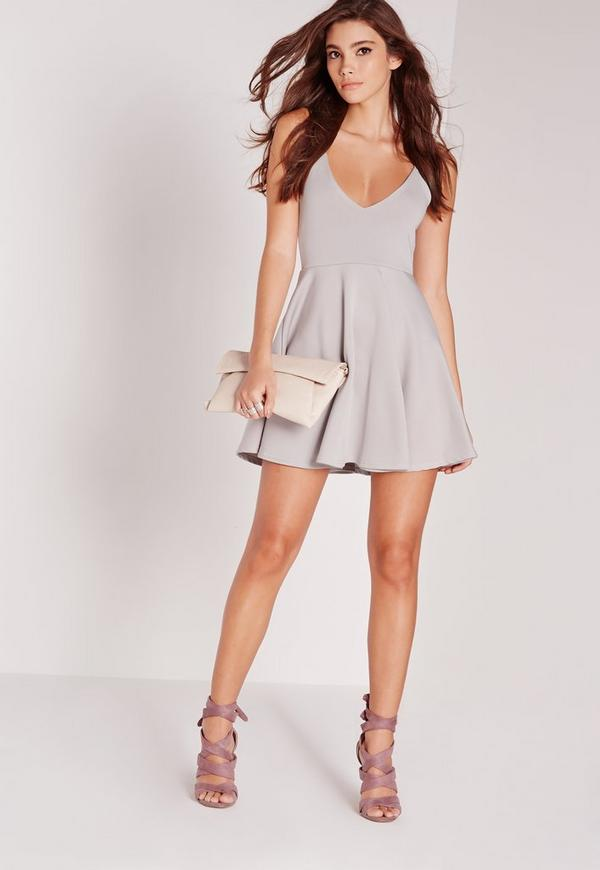 Strappy Skater Dress Grey | Missguided