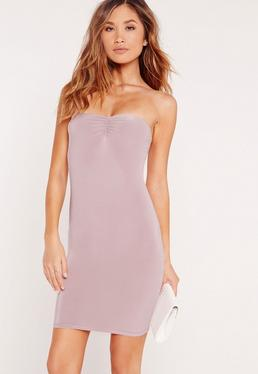 Slinky Bandeau Bodycon Dress Lilac