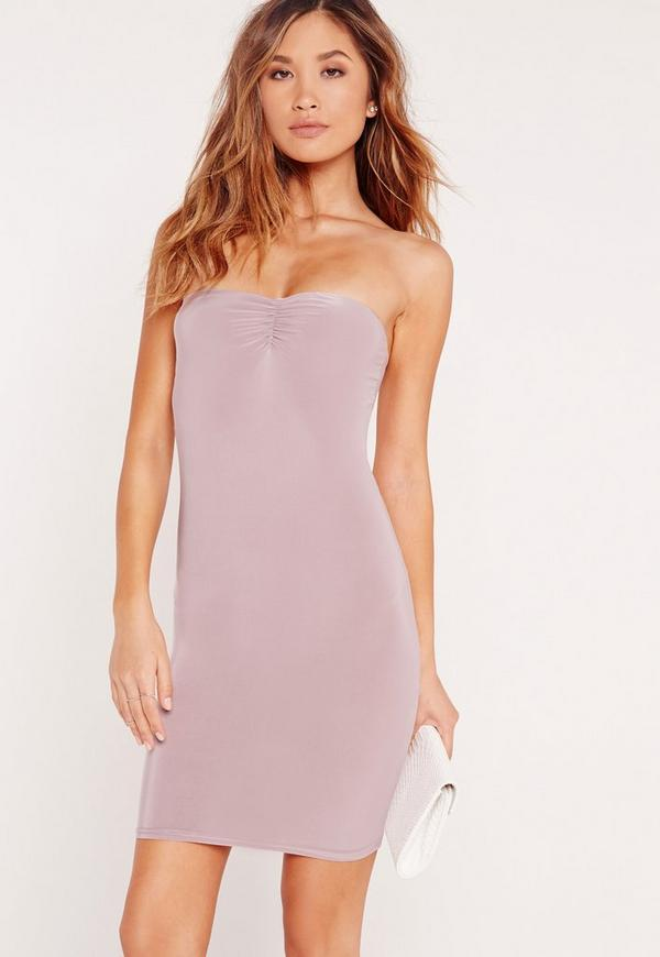 Slinky Bandeau Bodycon Dress Lilac