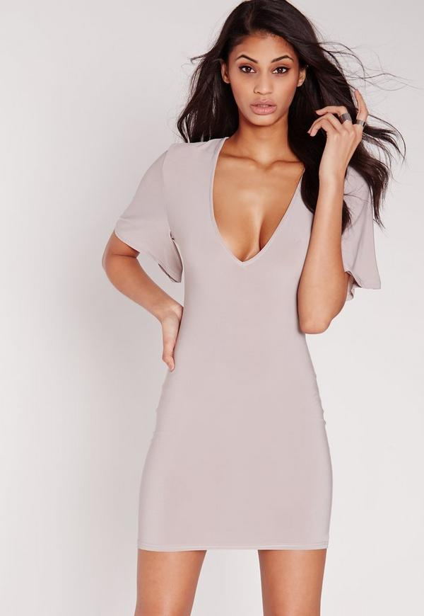 Slinky V Plunge Angel Sleeve Grey