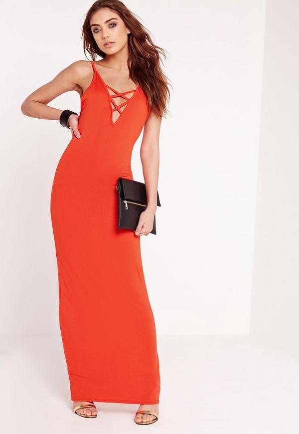 Criss Cross Bust Maxi Dress Orange
