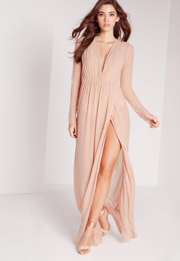 Mesh Maxi Dress Nude