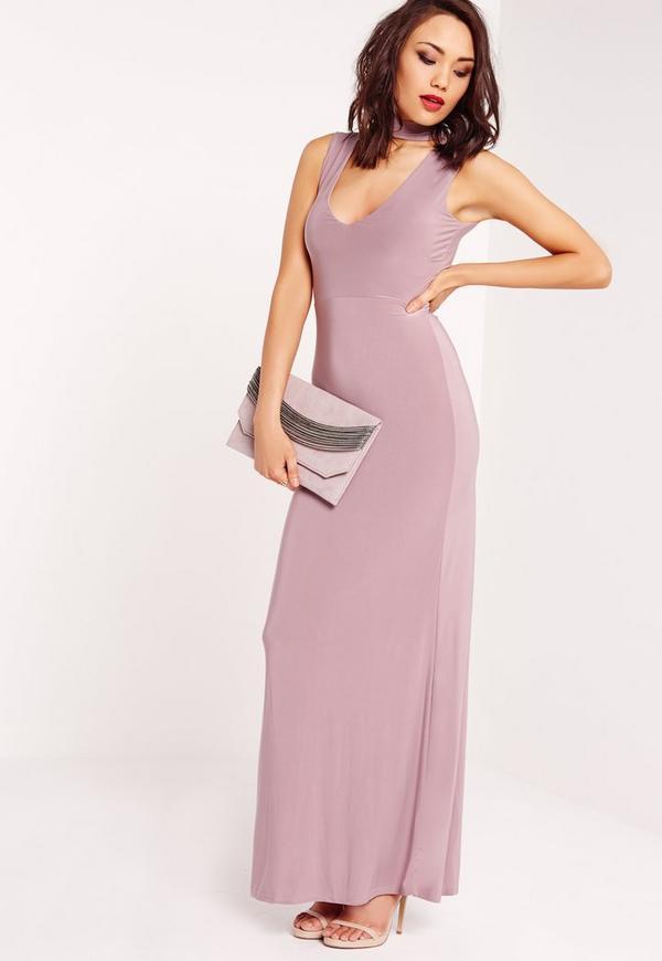 Slinky Choker Maxi Dress Purple