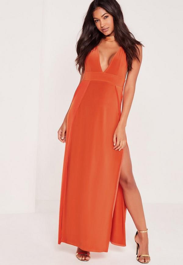 Extreme Plunge Thigh Split Maxi Dress Orange