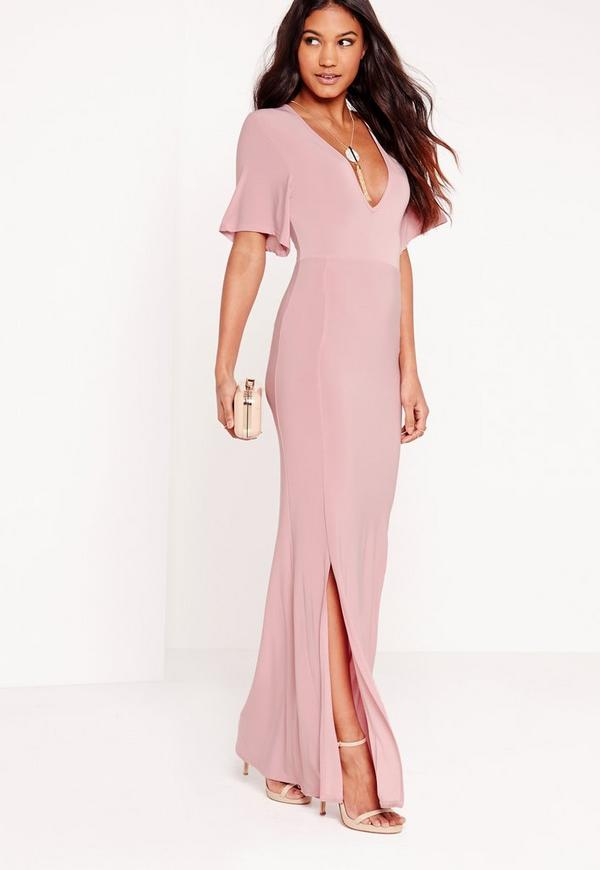 Slinky Plunge Batwing Maxi Dress Pink