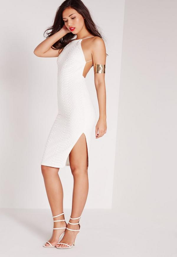 Square Neck Snake Embossed Midi Dress White