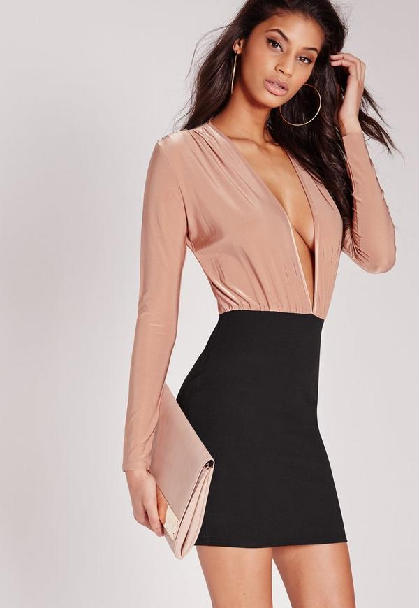 Slinky Top Bodycon Dress Nude