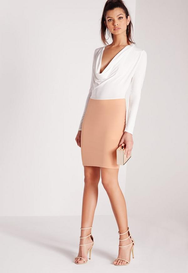 Cowl Front Long Sleeve Bodycon Dress White/Nude