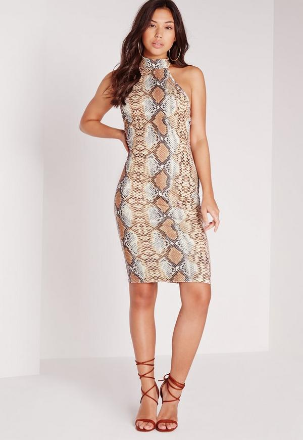 Halterneck Snake Print Bodycon Midi Dress Brown