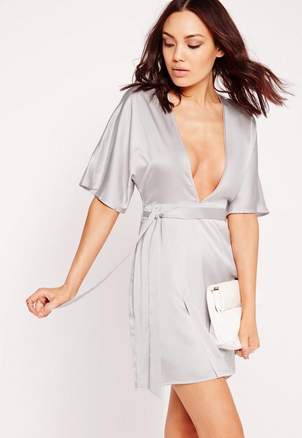 Silky Kimono Wrap Dress Ice Grey