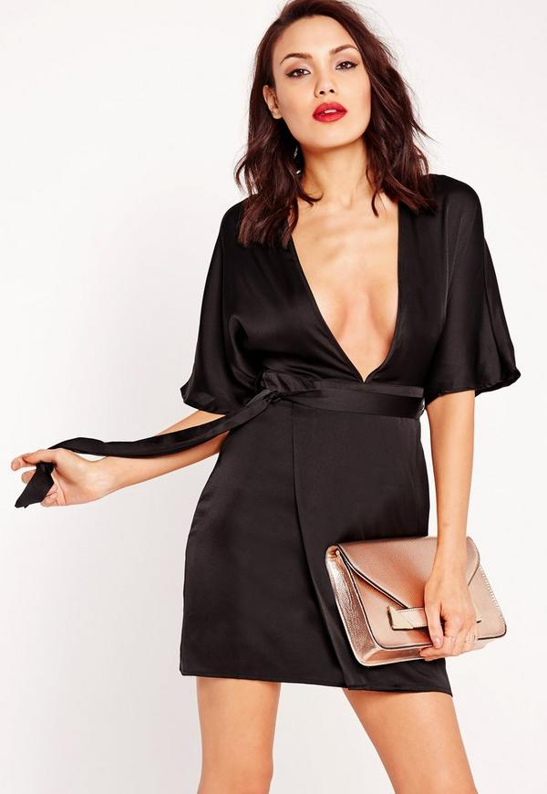 Silky Kimono Wrap Dress Black