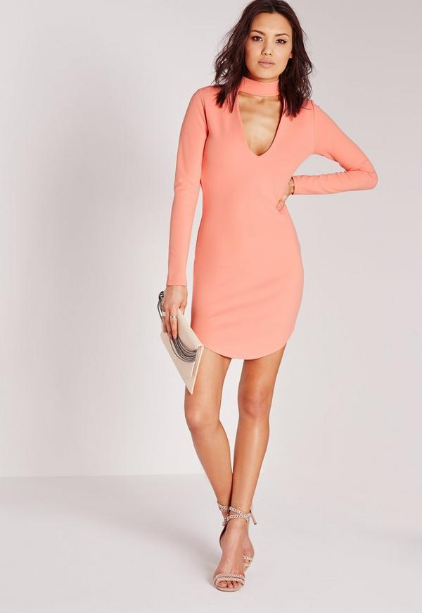 crepe choker curve hem cut out bodycon dress orange
